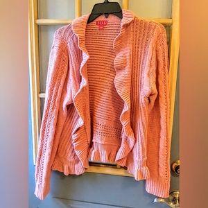 Coral Pink ✨Glimmer✨Ruffle Cardigan L